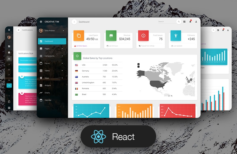 Material Bootstrap Dashboard Pro - React