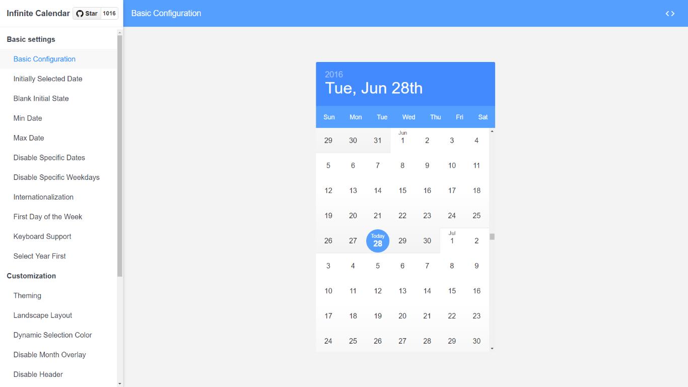 Infinite Calendar - React