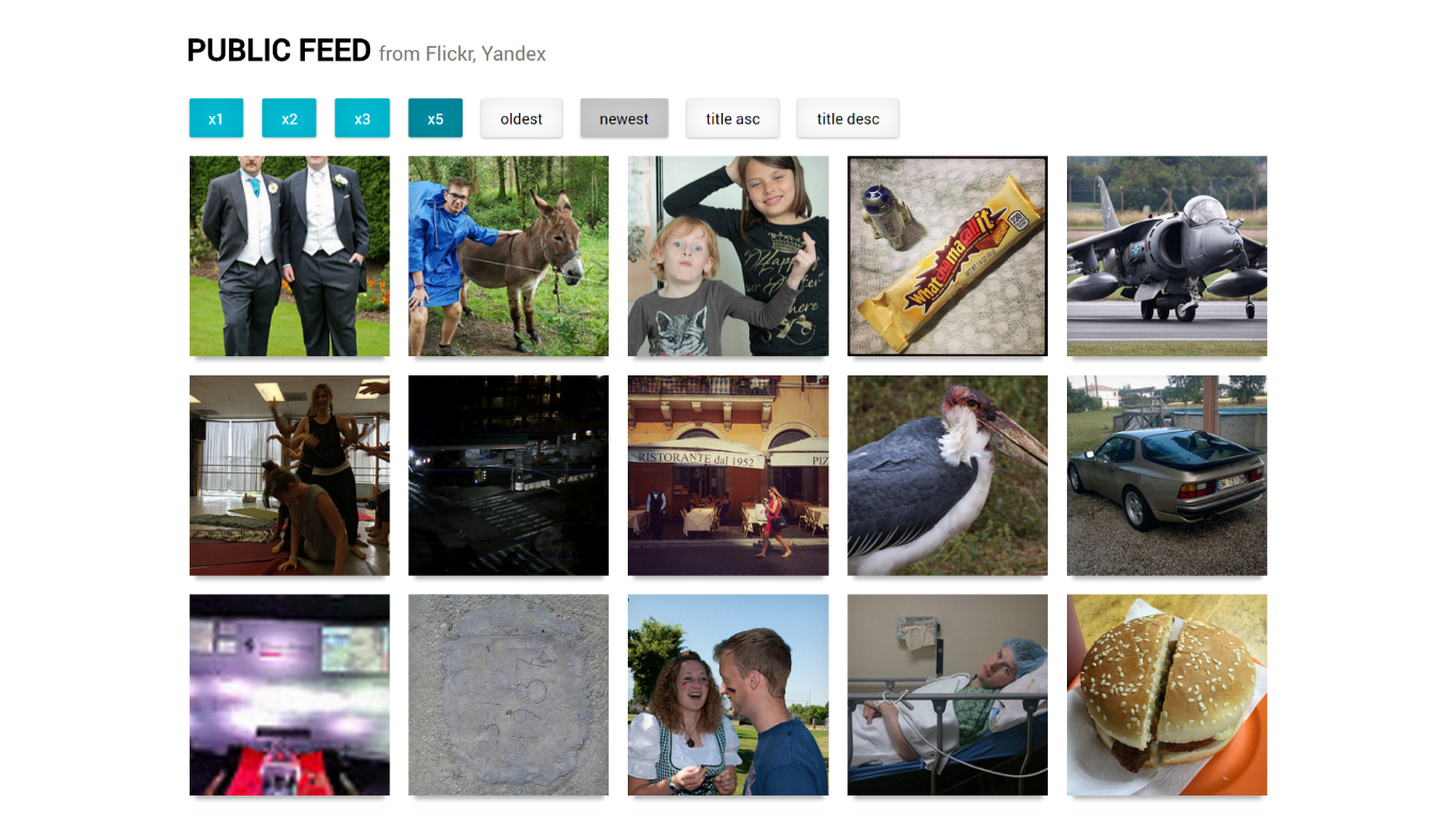 Flickr & Yandex Feed - React
