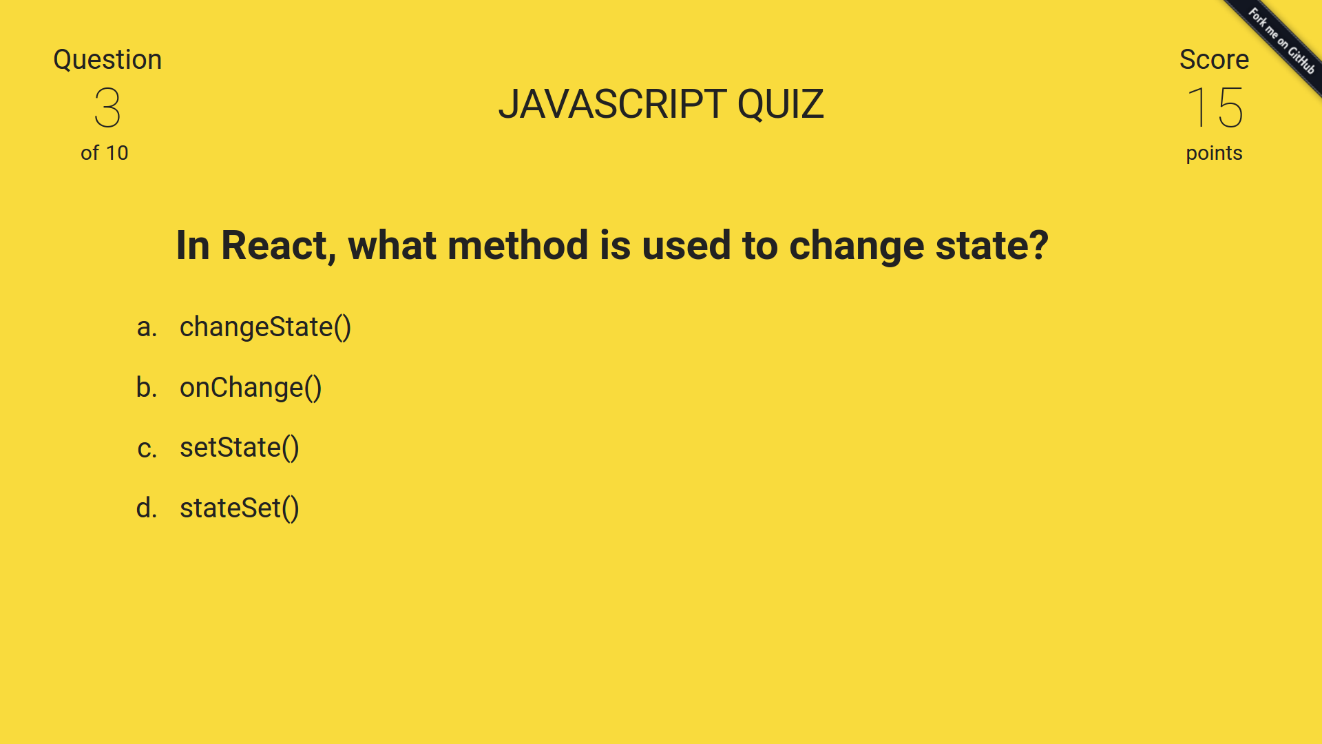 Javascript quiz made with react for Javascript quiz template