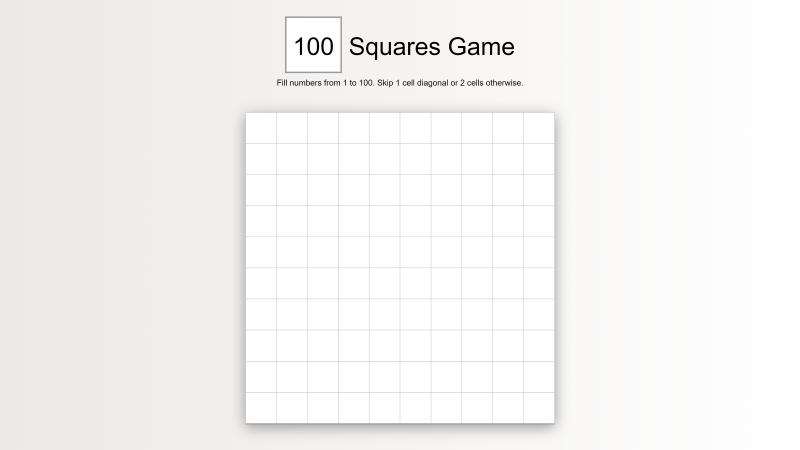 100 Squares Game - React