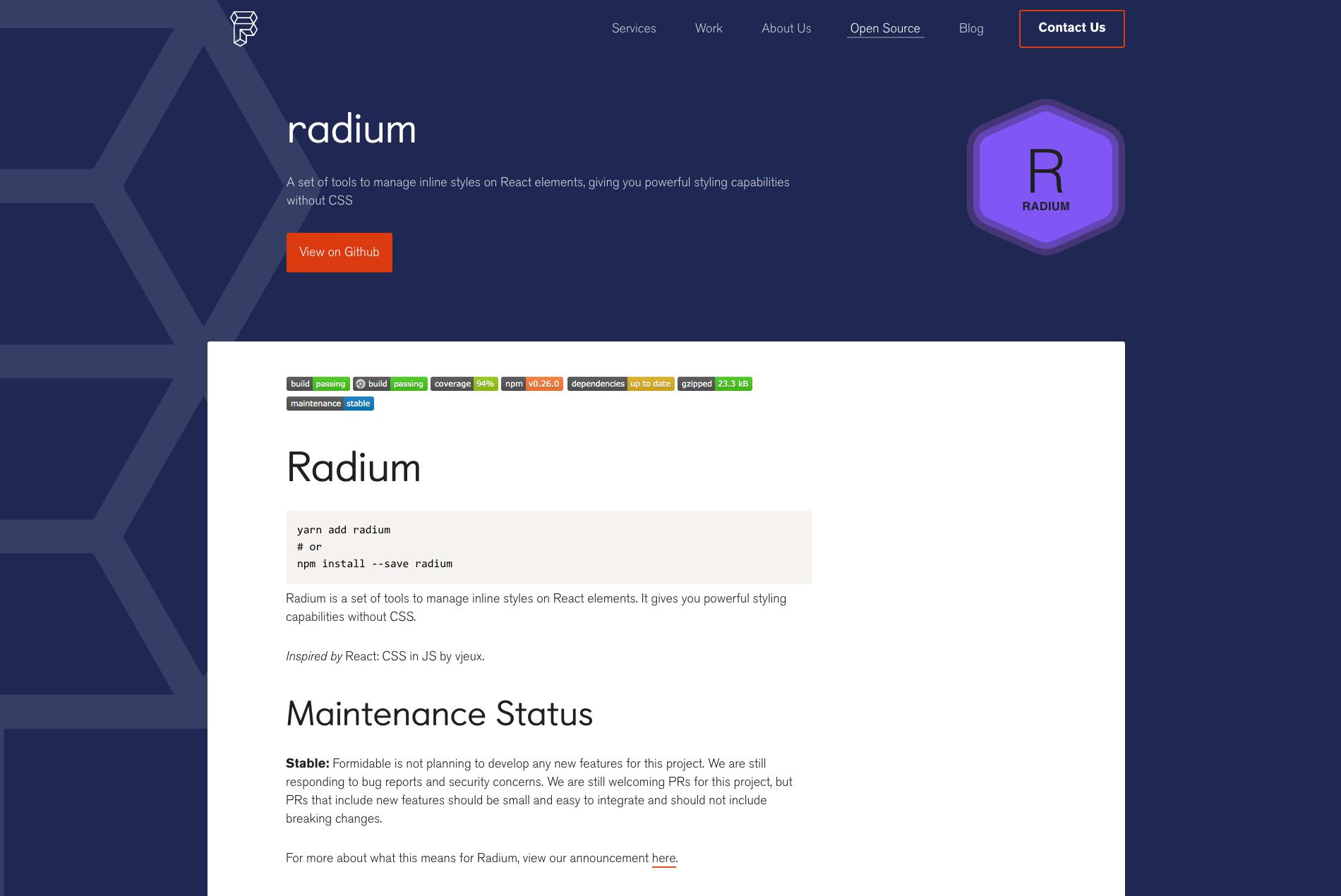 Radium - React